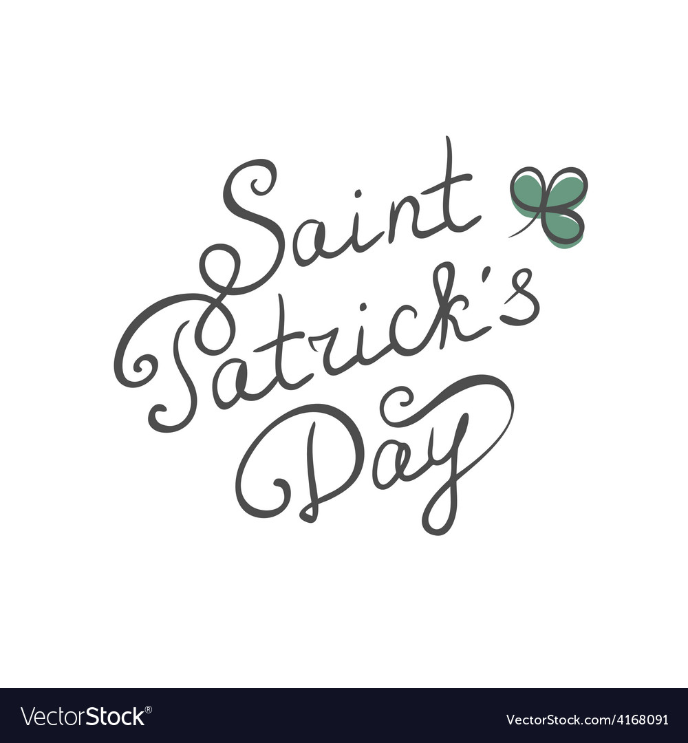 Saint patrick day calligraphic text vector