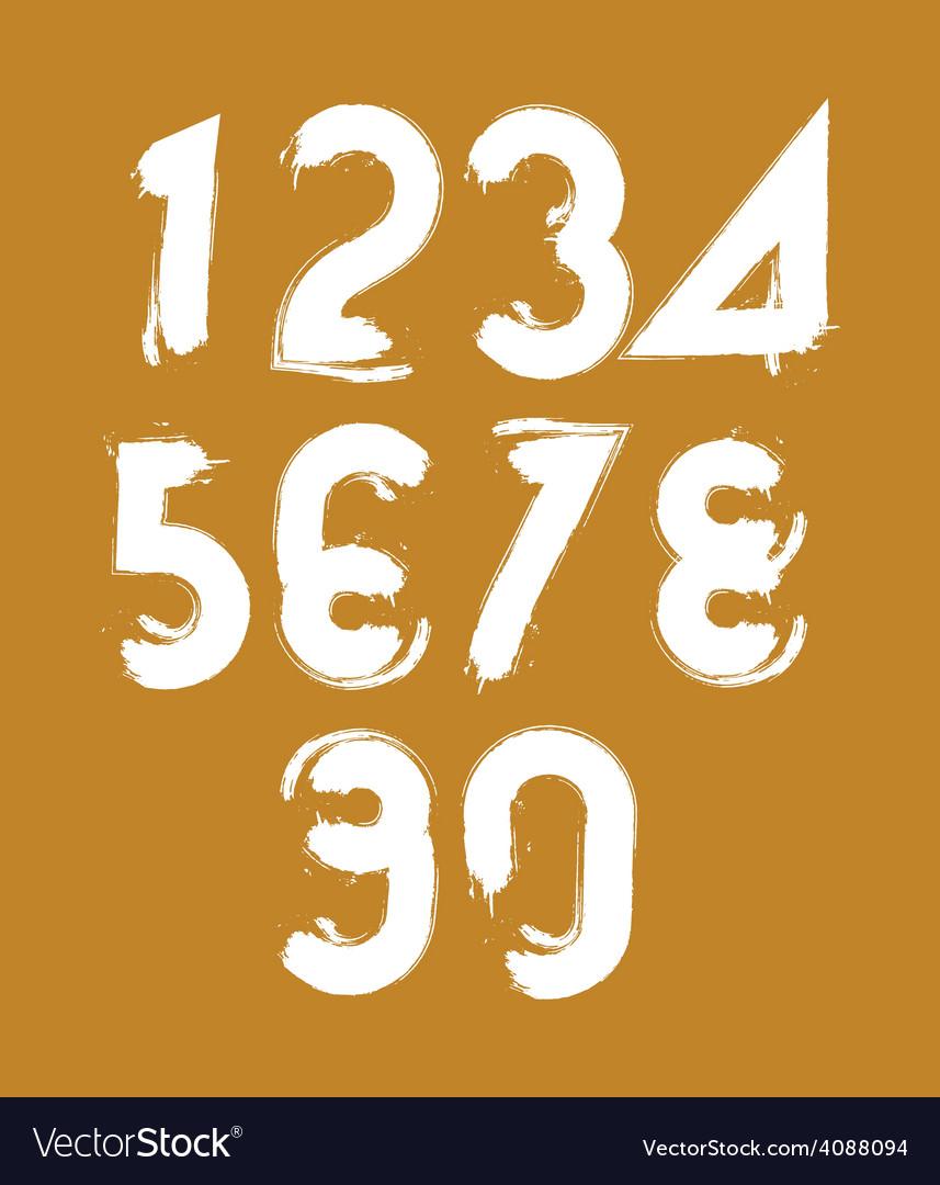 Calligraphic brush numbers hand-painted white vector
