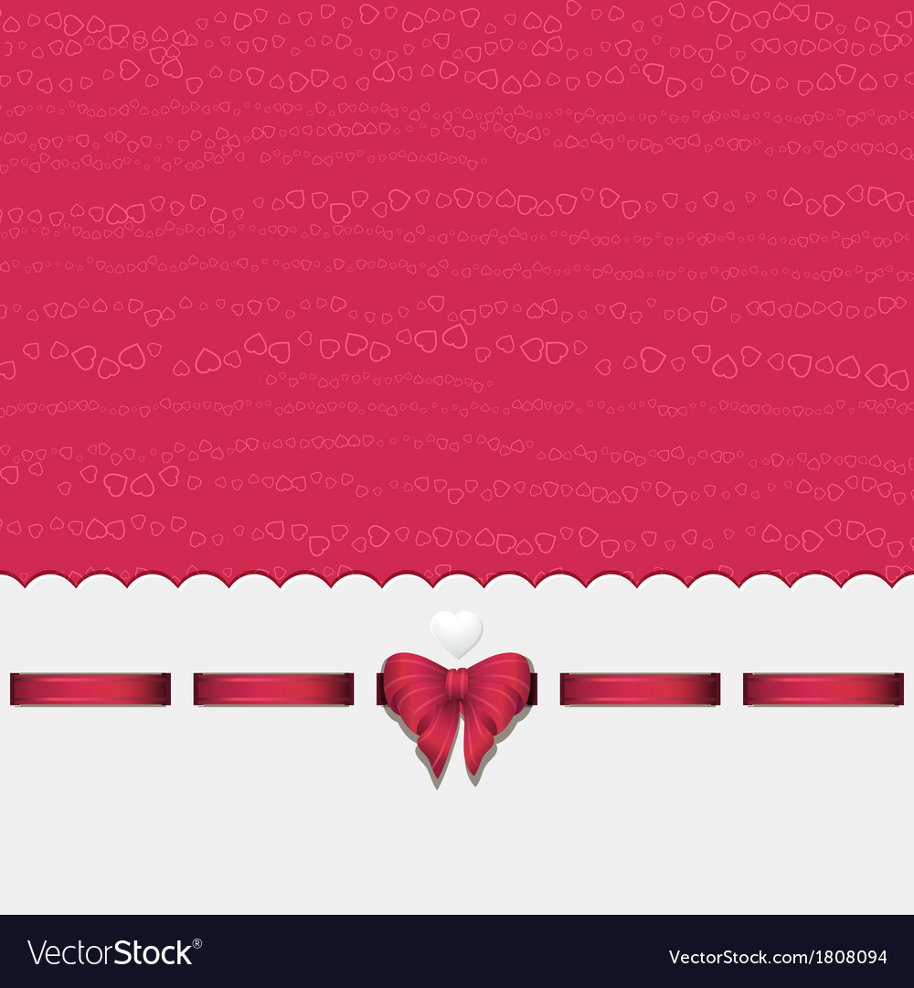 Pink heart background with ribbon pink vector