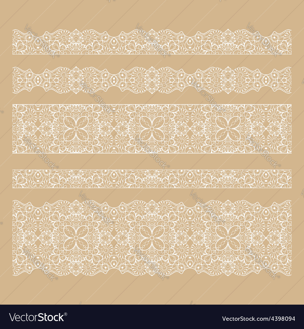 Set of seamless lace borders with transparent vector