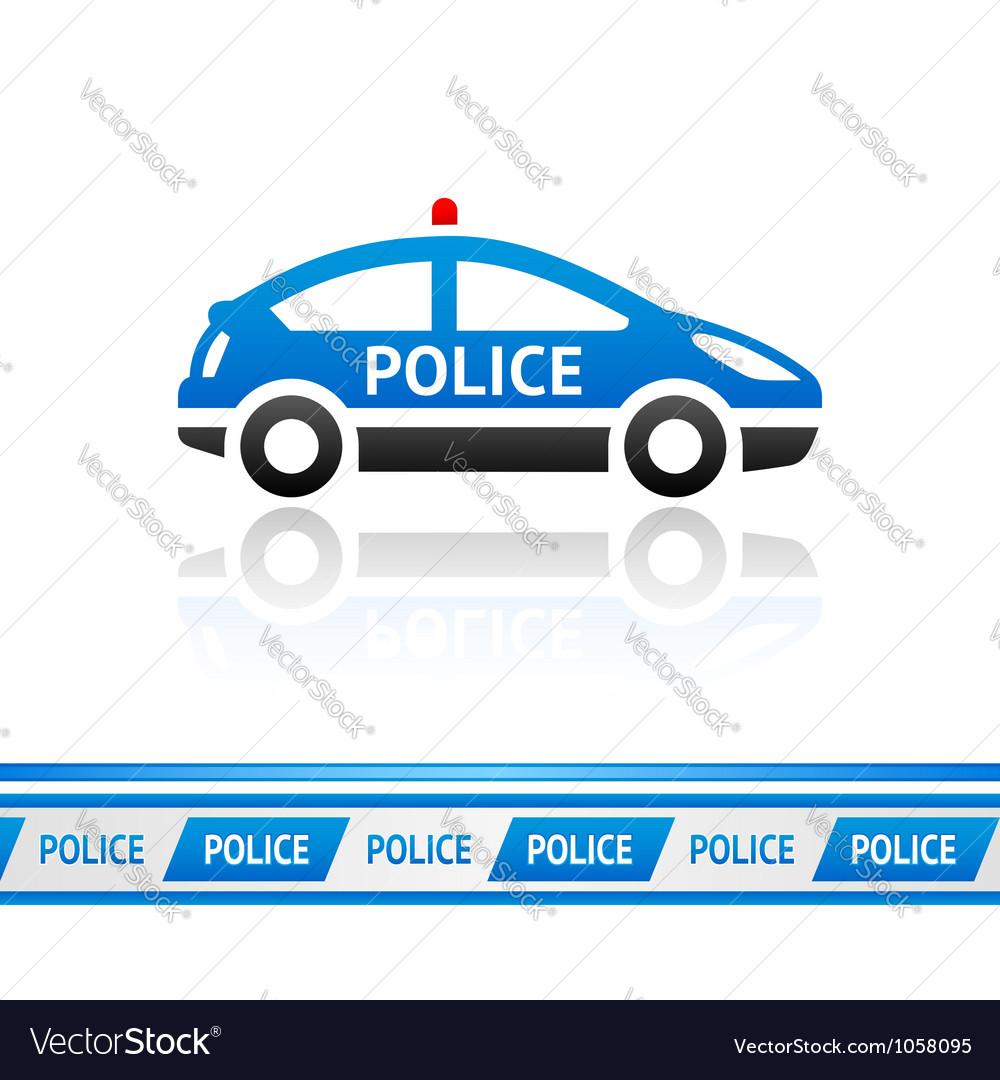 Police car police tape vector