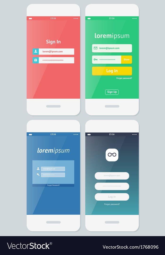 Beautiful examples of login forms for apps vector