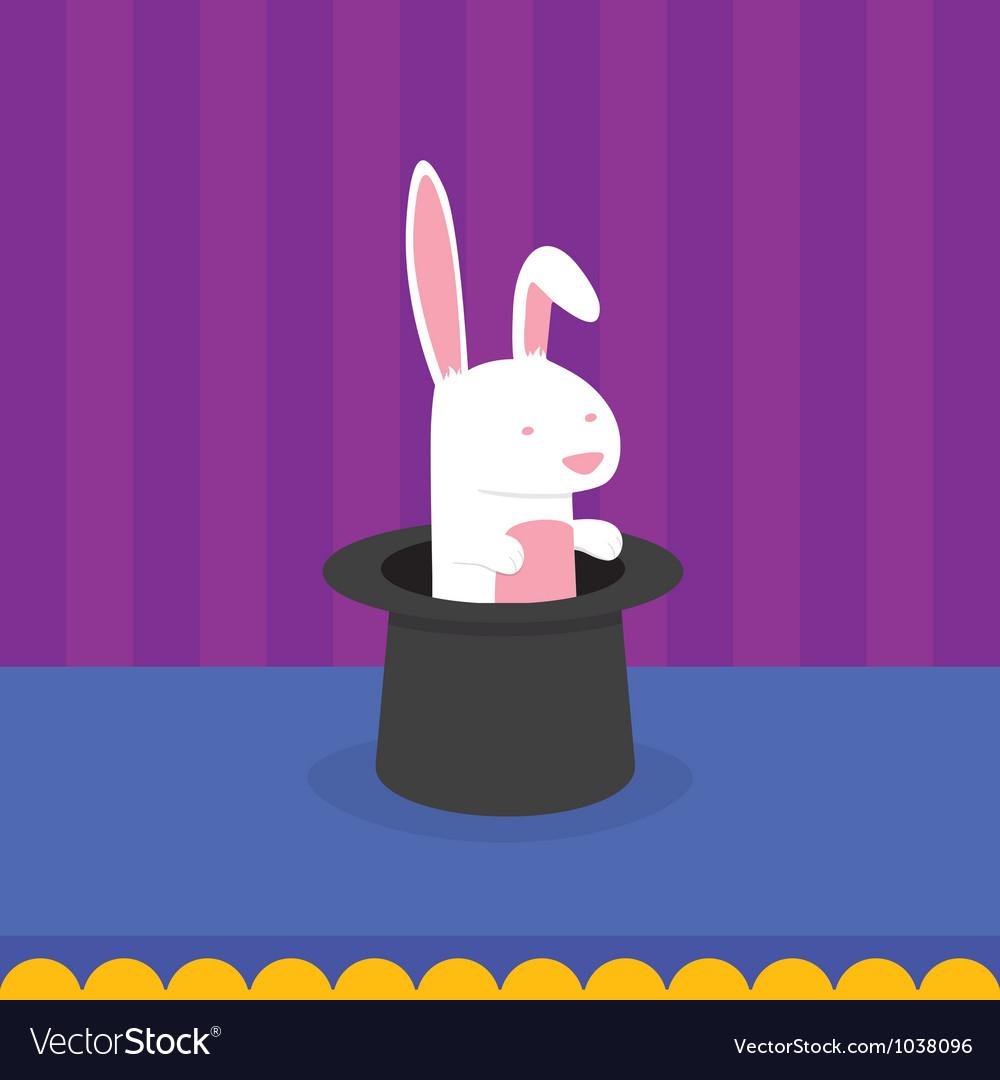 Rabbit in magicians hat vector
