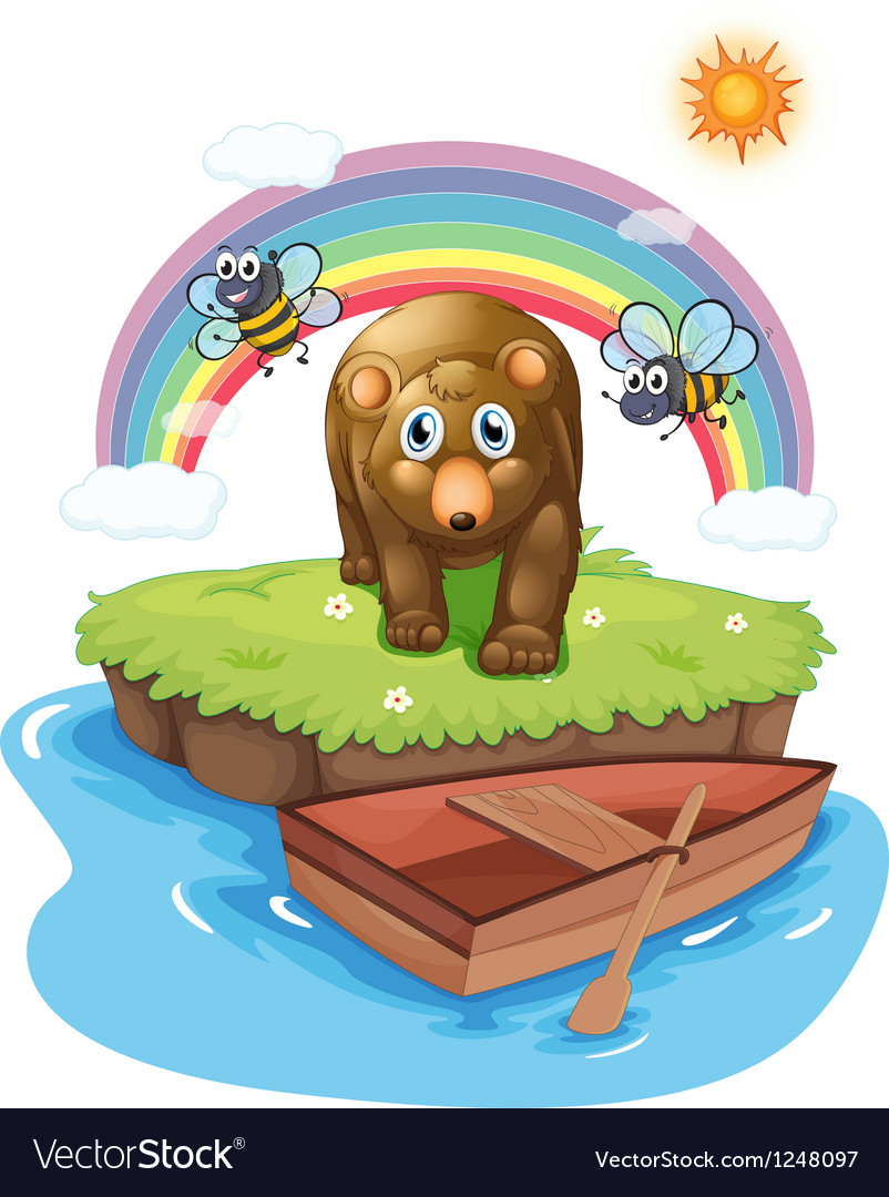 A brown bear and the wooden boat vector