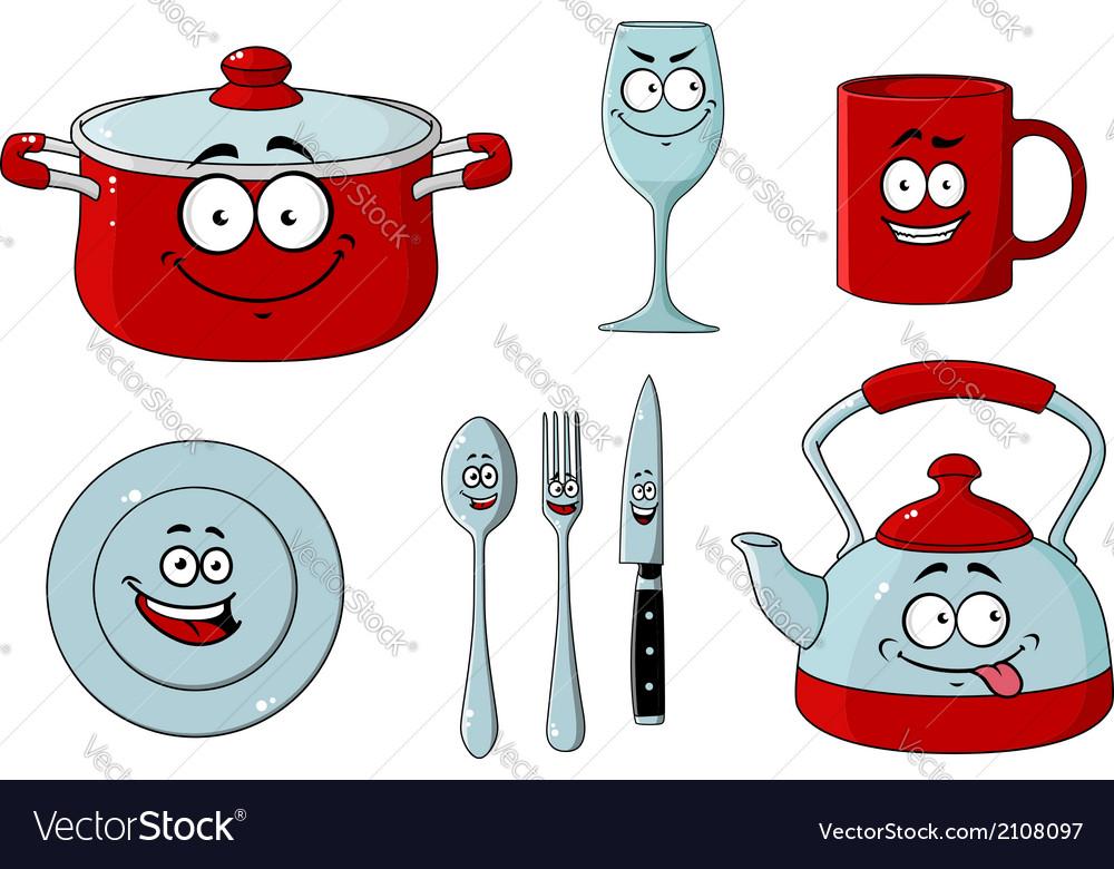 Cartoon dishware and kitchenware set vector