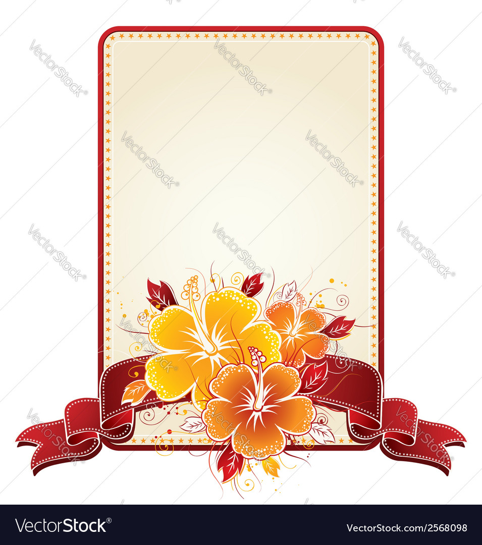Bouquet of hibiscus and rectangular label with red vector