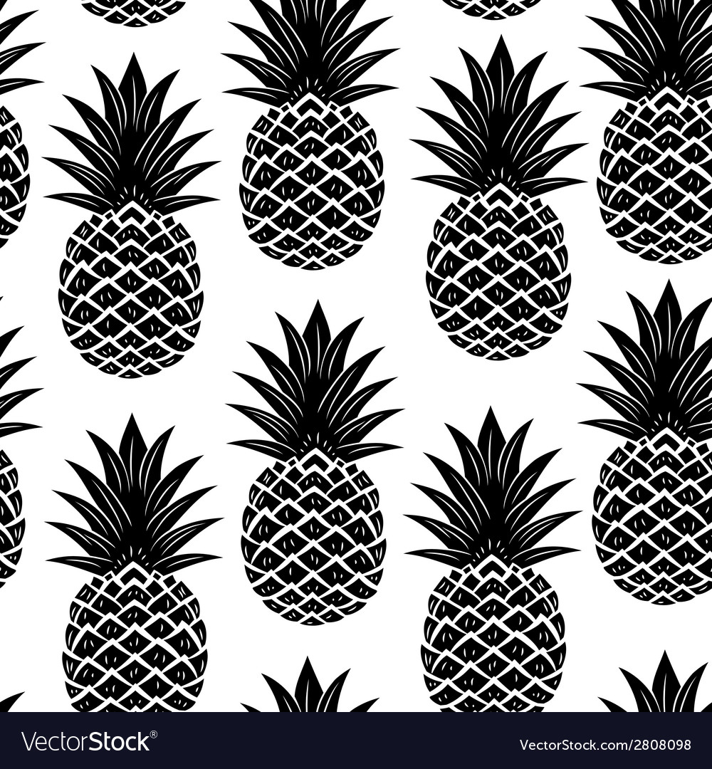Vintage pineapple seamless vector