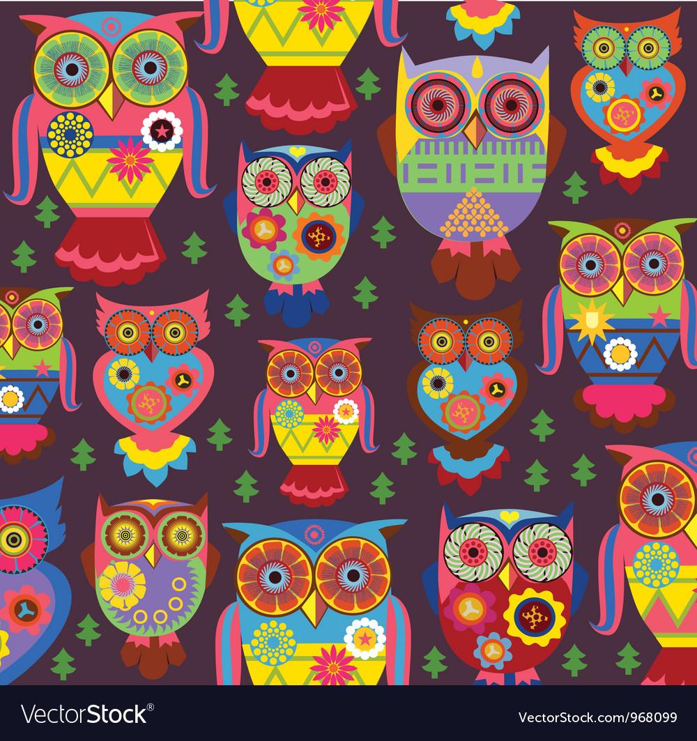 Cartoon owl pattern dark background vector