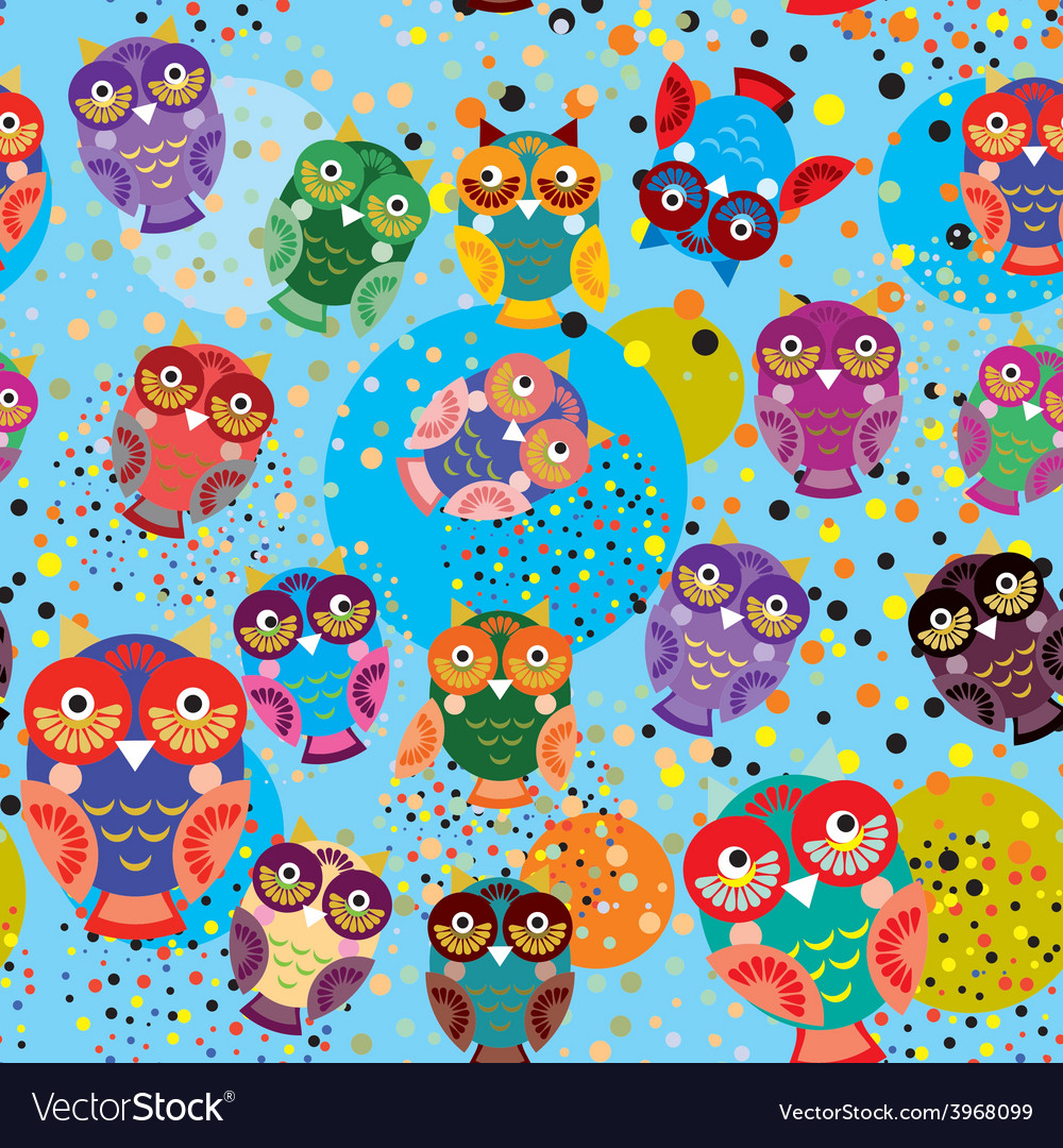 Seamless pattern with colorful owls on a blue vector