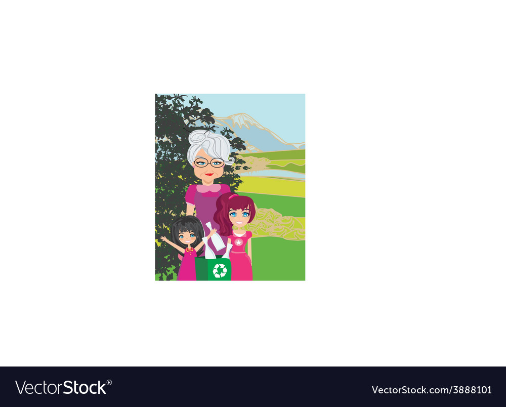 Family recycling bottles vector
