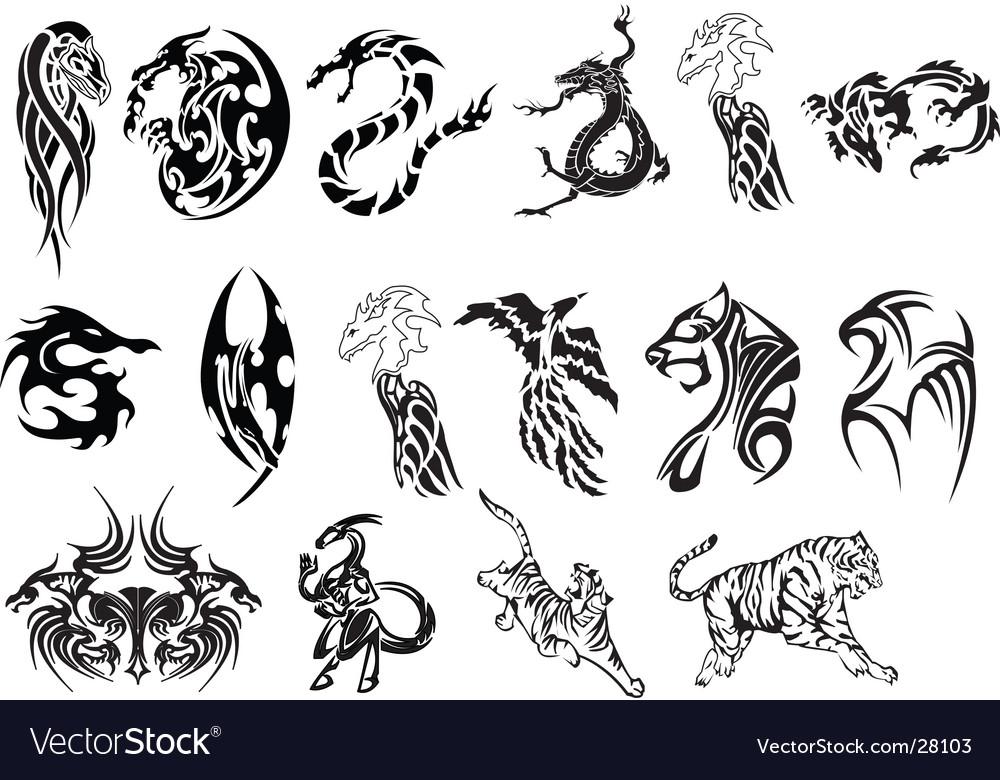 Animal tattoo set vector