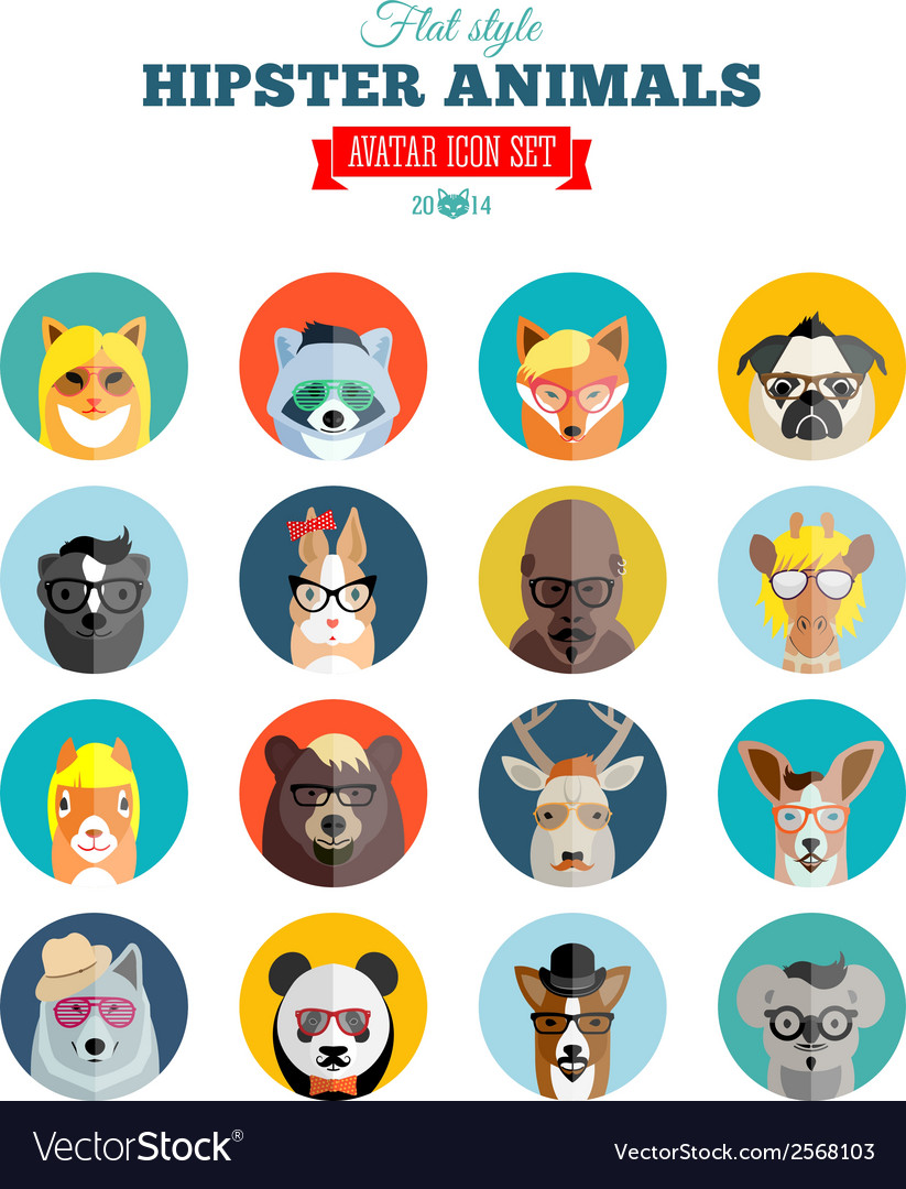Flat style hipster animals avatar icon set for vector