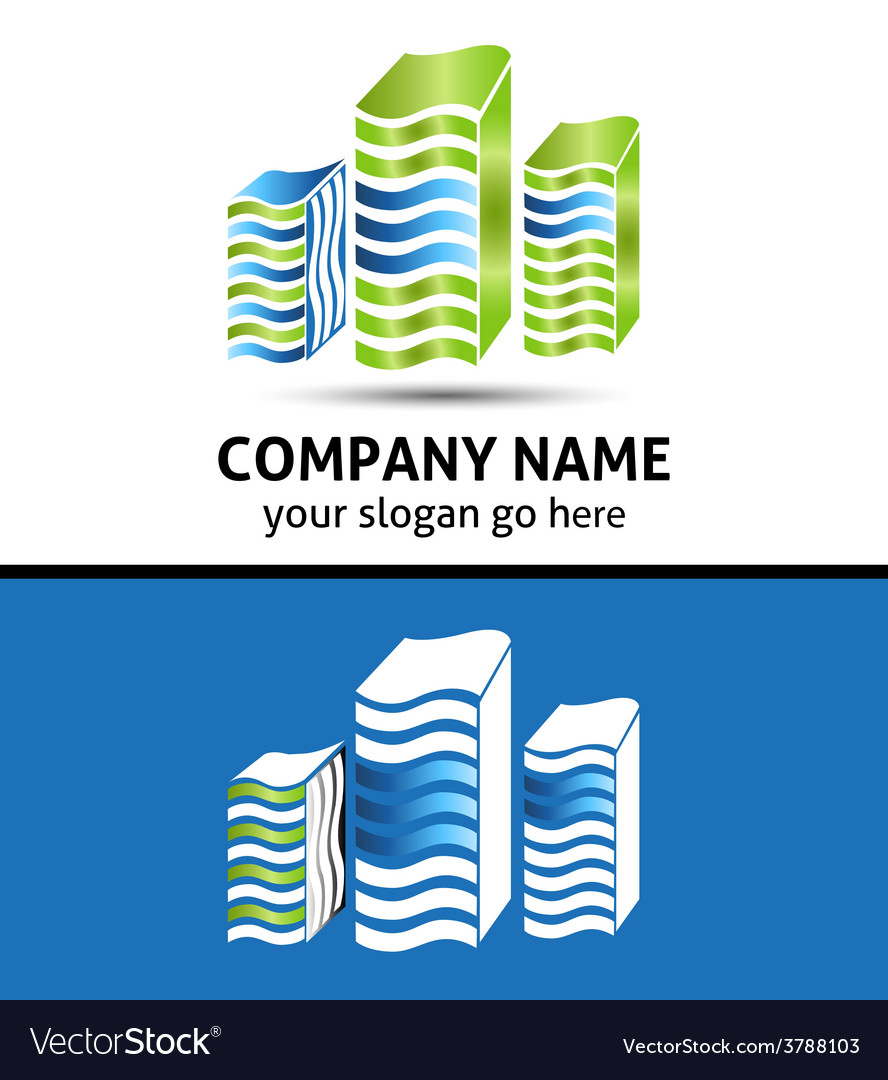 Lines office building logo isolated vector