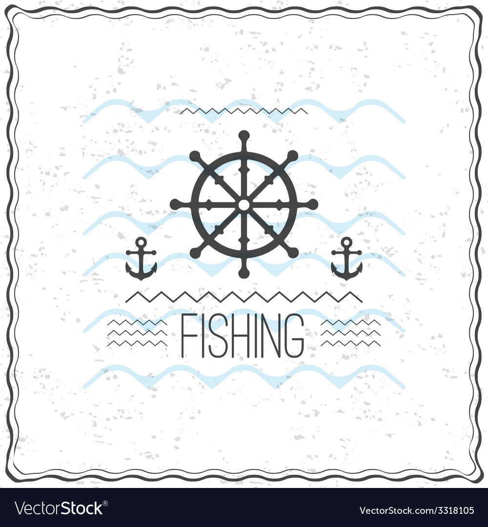Print on t shirt design with a textured marine vector