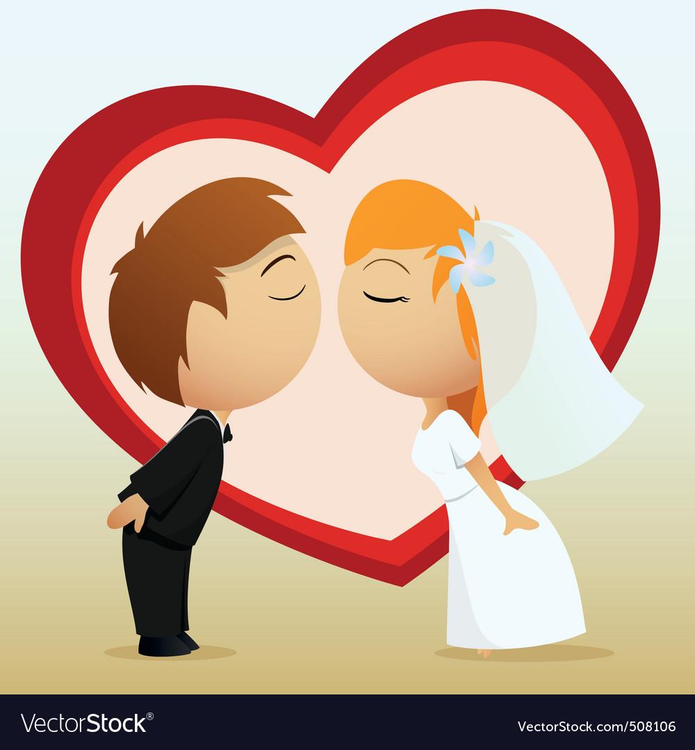 Cartoon bride and groom kiss vector
