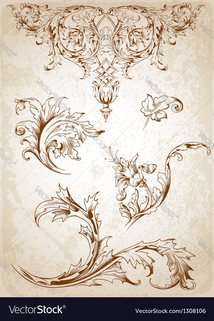 Victorian leaves vector