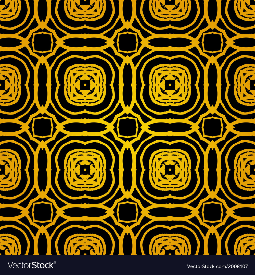 Geometric art deco pattern with gold shapes vector