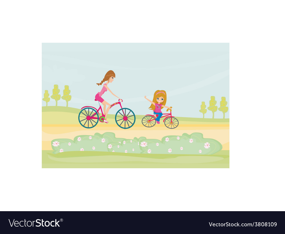 Mother and daughter biking vector