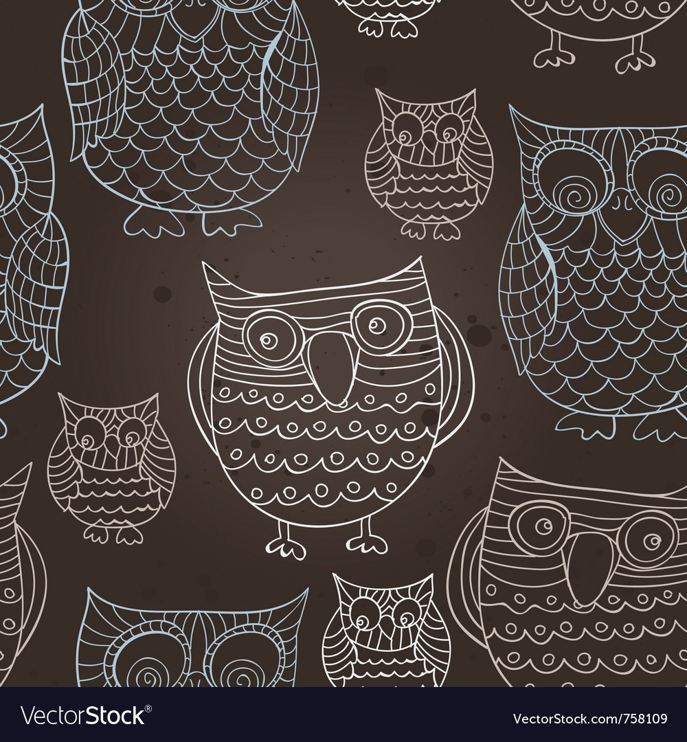 Seamless pattern with doodle owls - vector