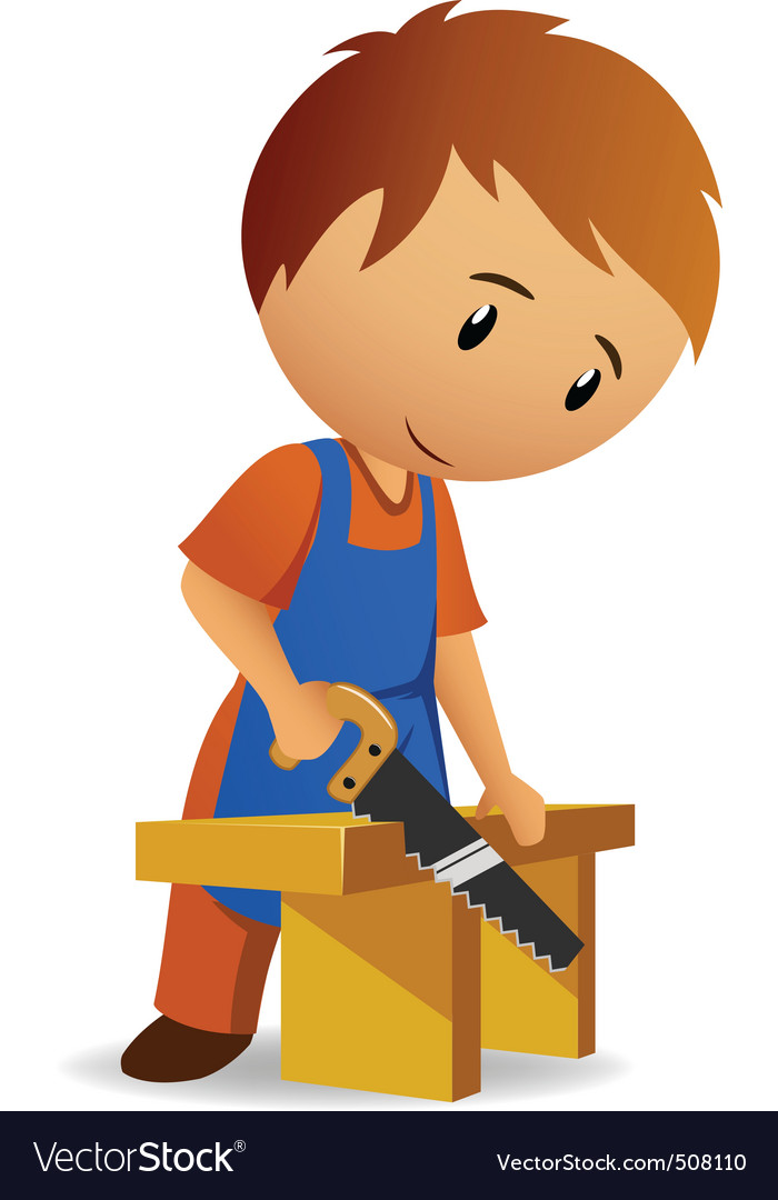 Carpenter cutting the wooden panel with handsaw vector