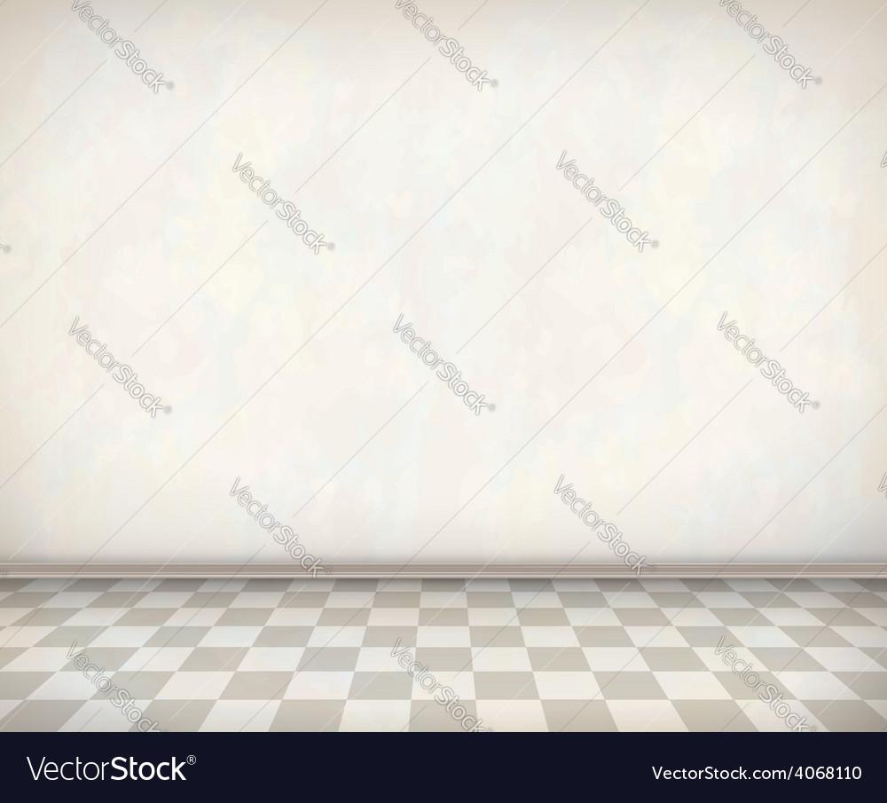 Empty room white wall tile floor vector