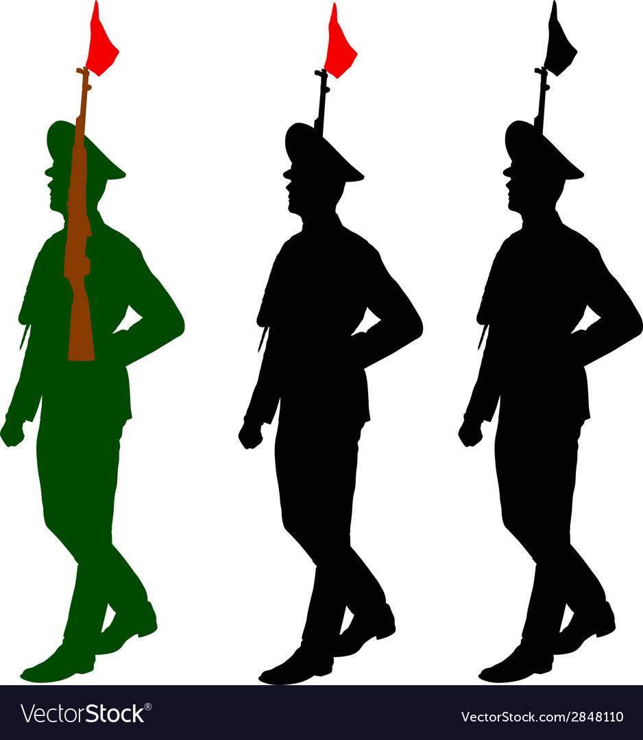 Silhouette soldiers during a military parade vector