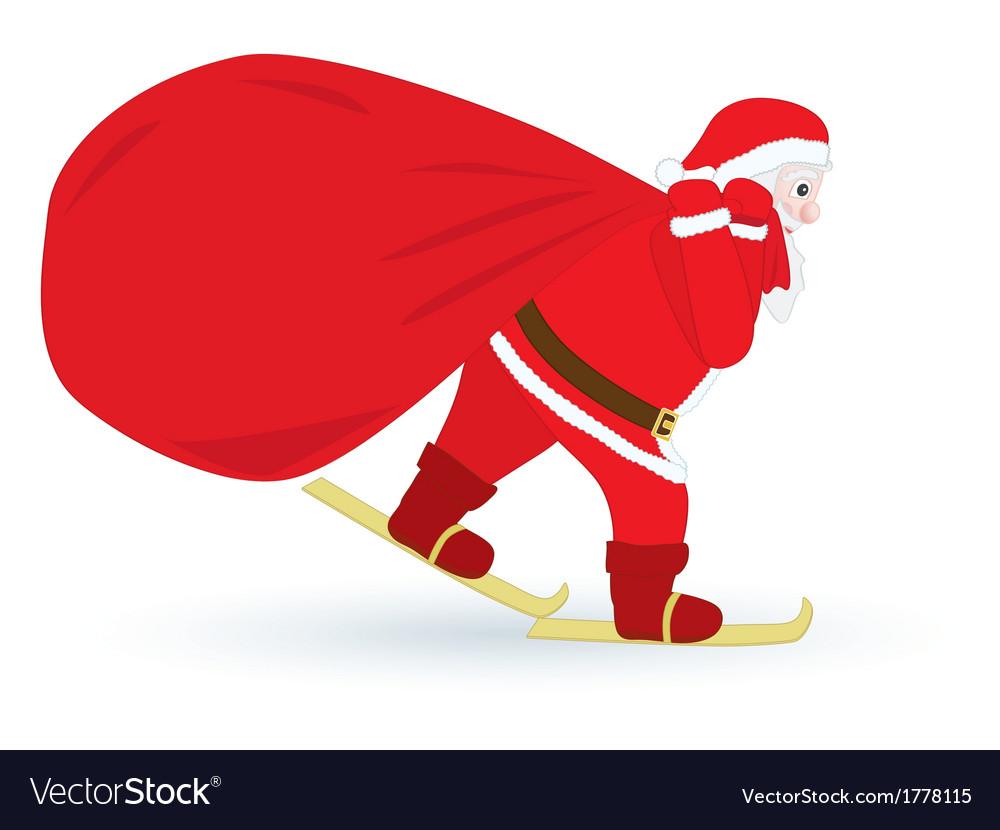 Santa skiing with sack vector