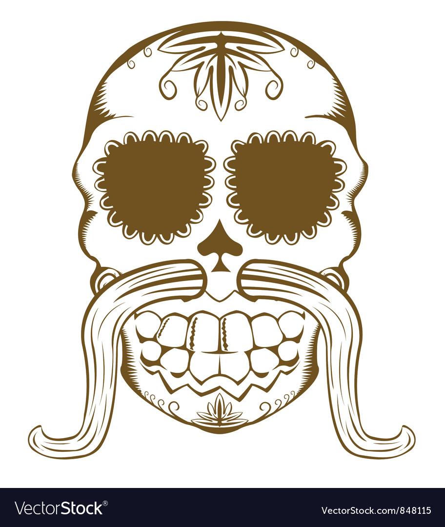 Sugar skull one color vector