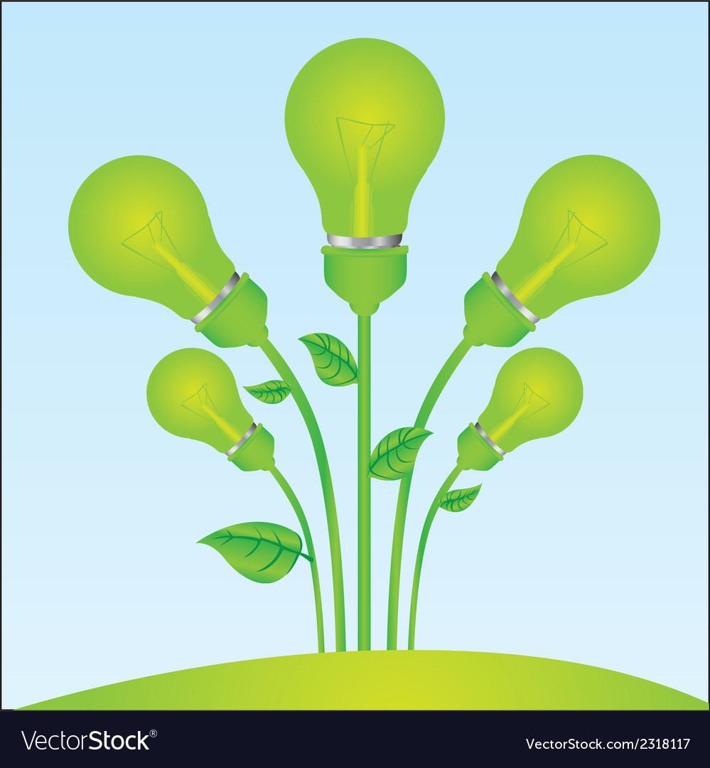 Planting of green bulb vector
