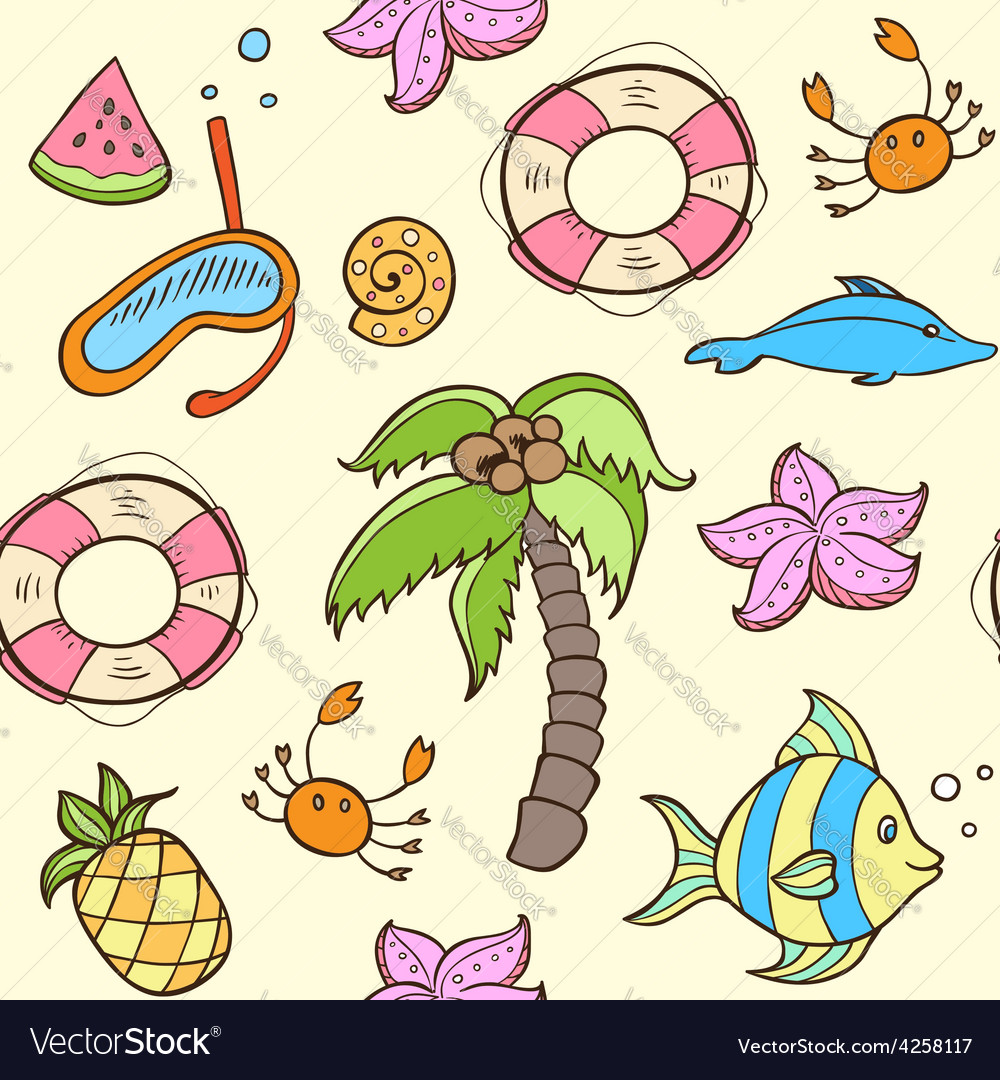 Summer seamless pattern with palm vector