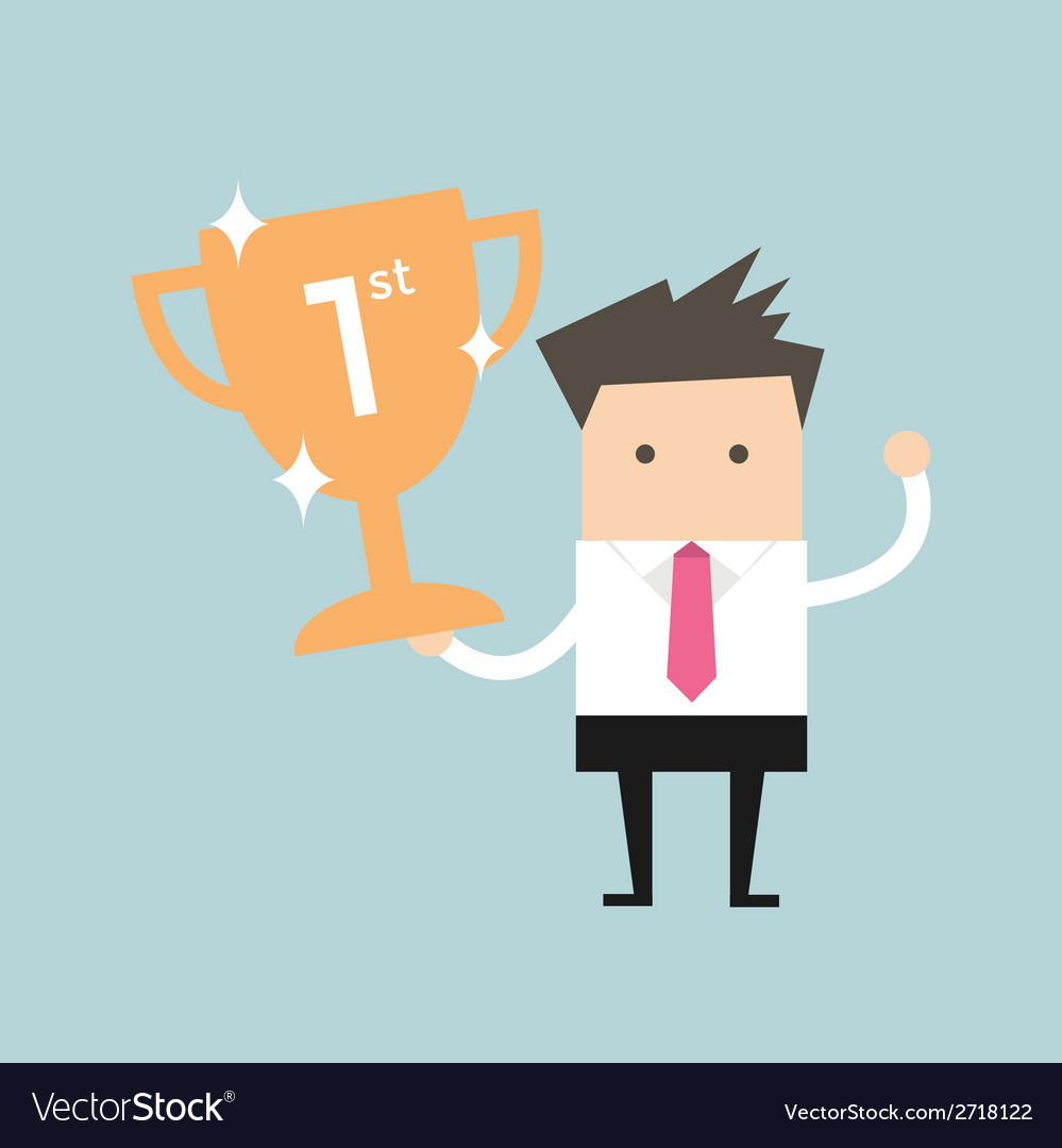 Businessman holding winning trophy vector