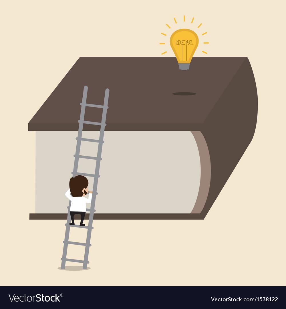 Climbing big book to reach an idea vector