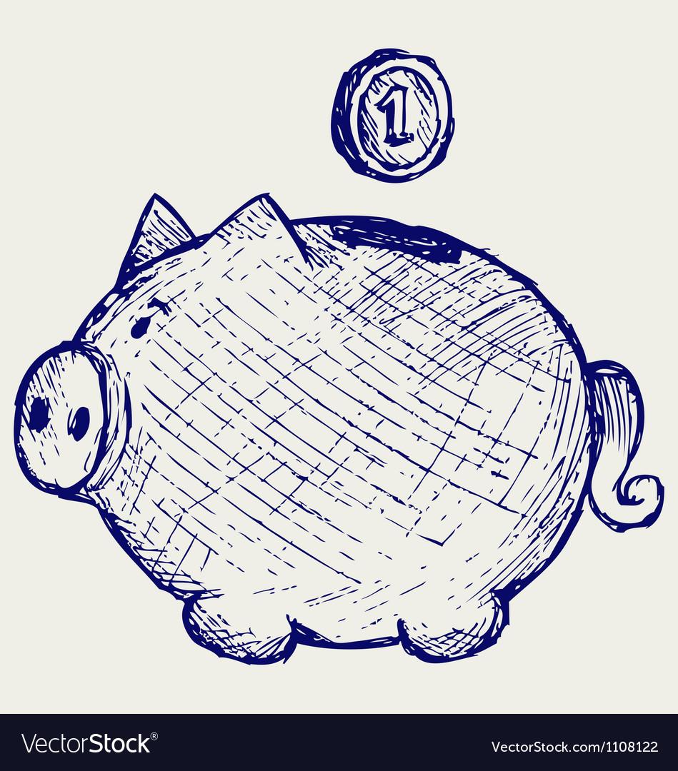Gold coin fall into a piggy bank vector