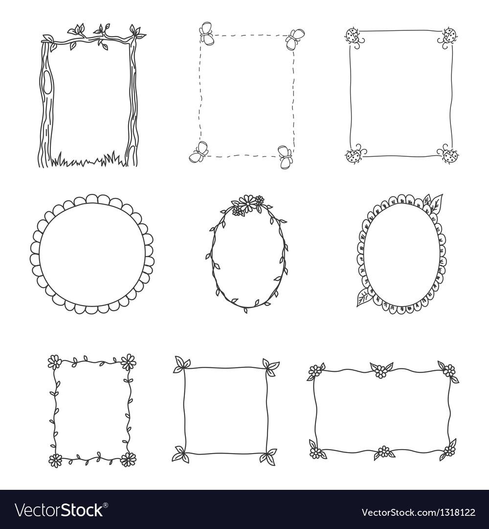 Hand drawn frames set 2 vector