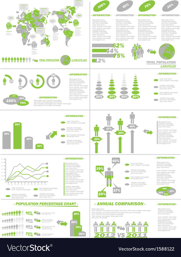Infographic demographics web elements green vector