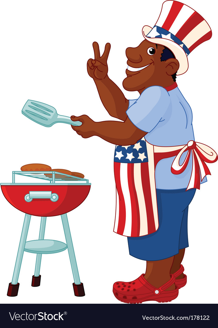 Man cooking a hamburger vector