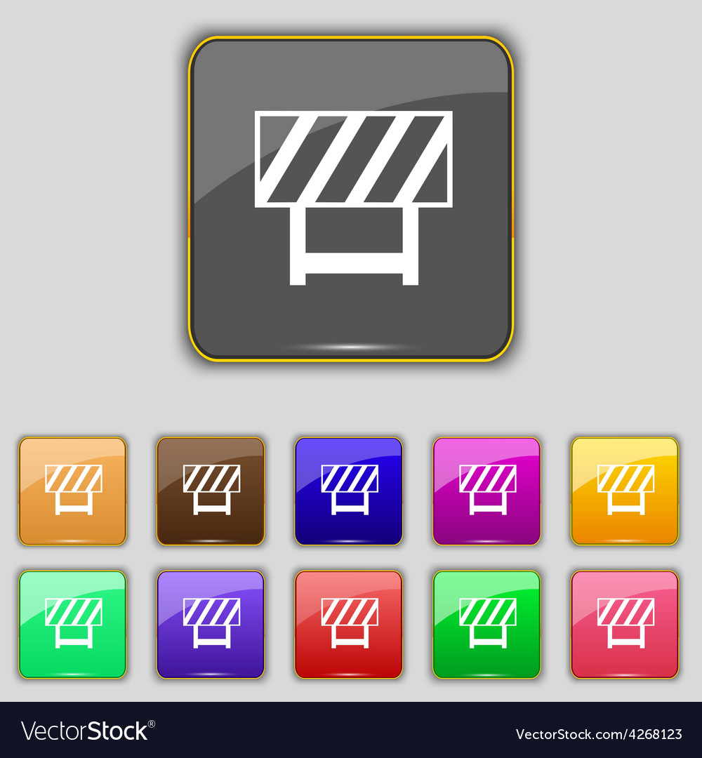 Road barrier icon sign set with eleven colored vector