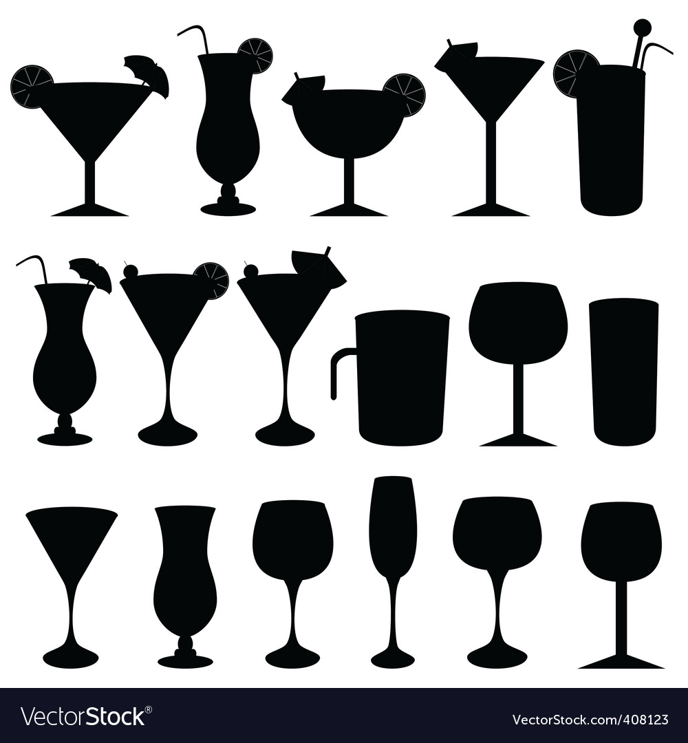 Silhouette drinks vector