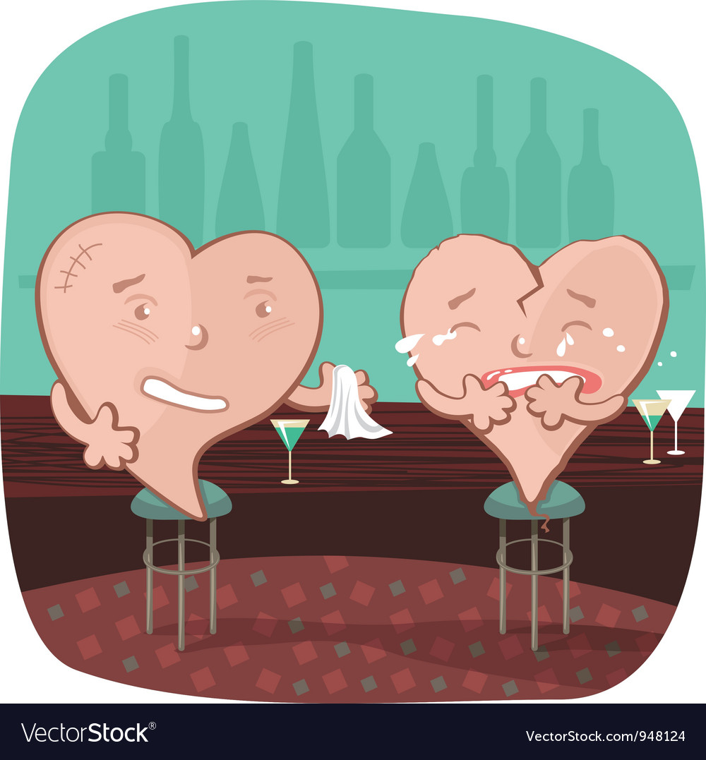 Broken heart at a bar vector