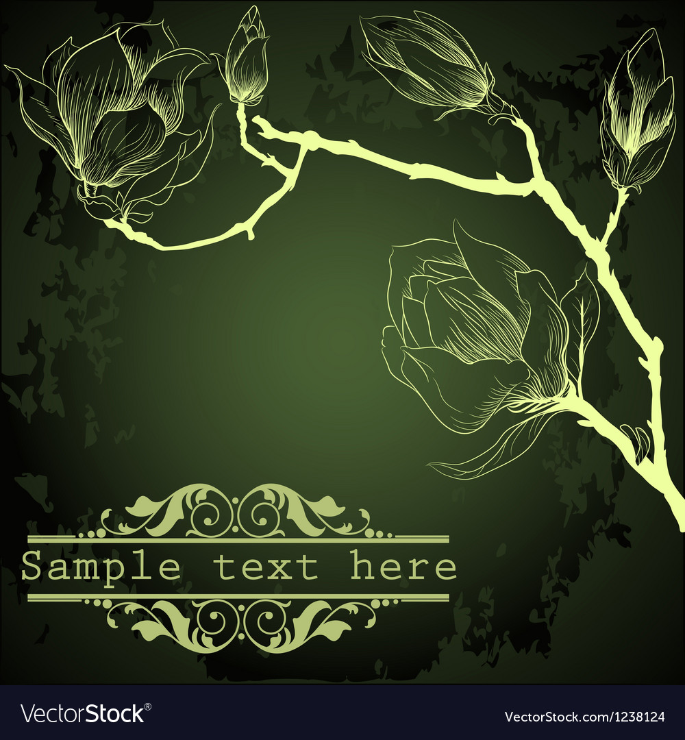 Dark green background with magnolia flowers vector