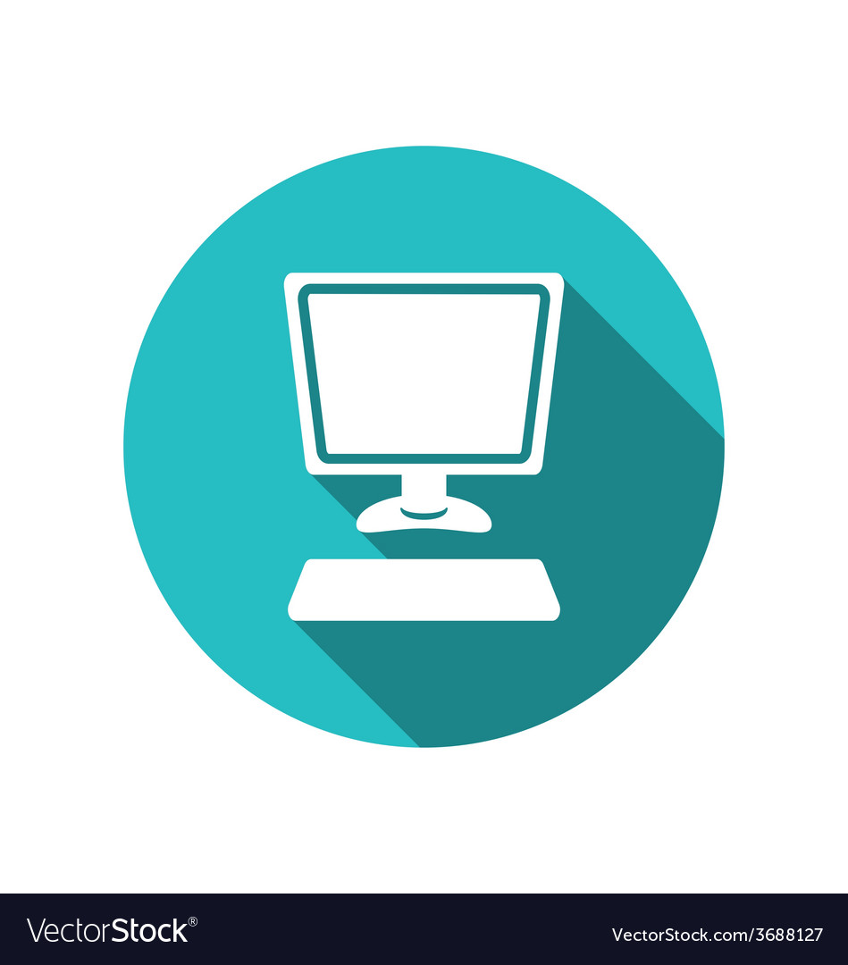 Computer and keyboard flat icon with long shadows vector