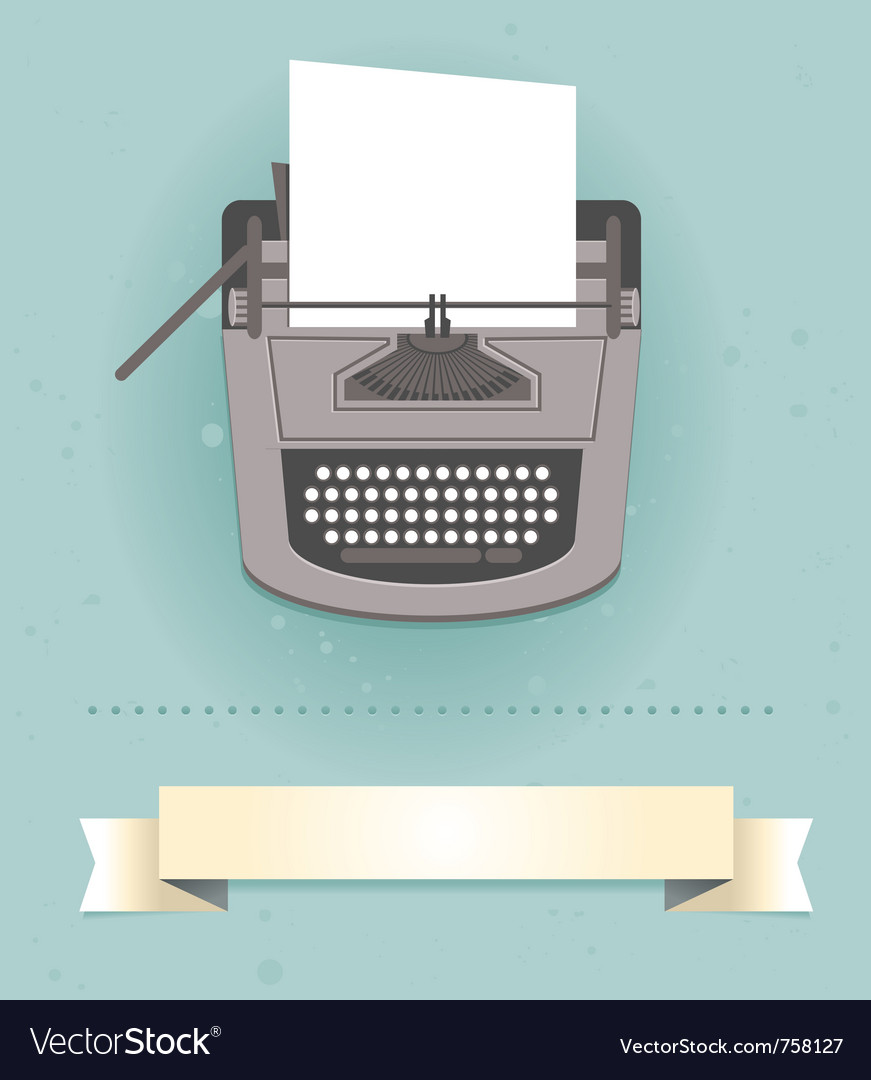 Typewriter in retro style - card vector