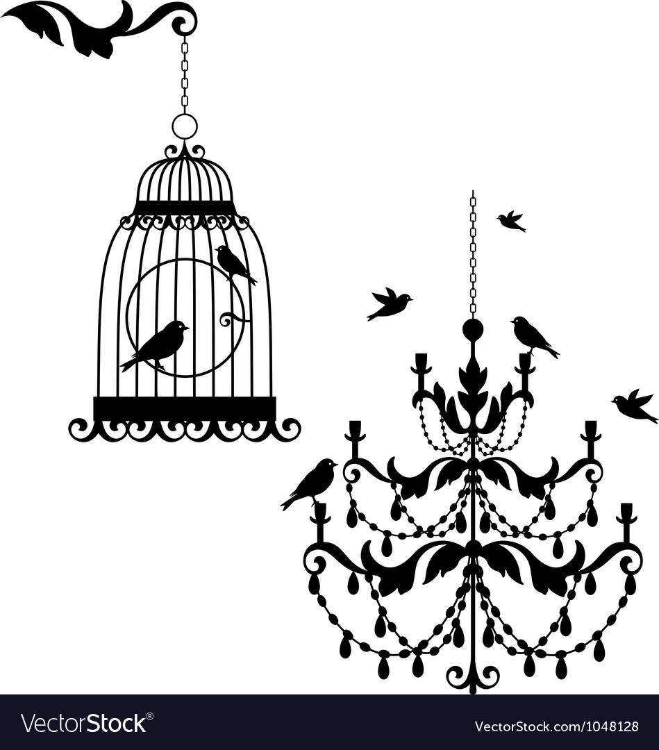 Birdcage and chandelier vector