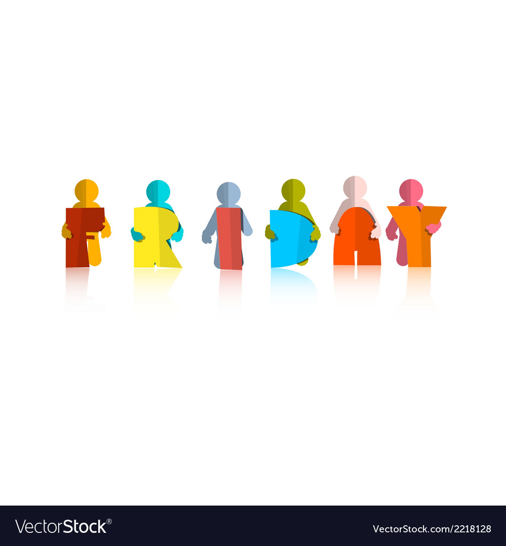Friday colorful title - paper cut people and vector