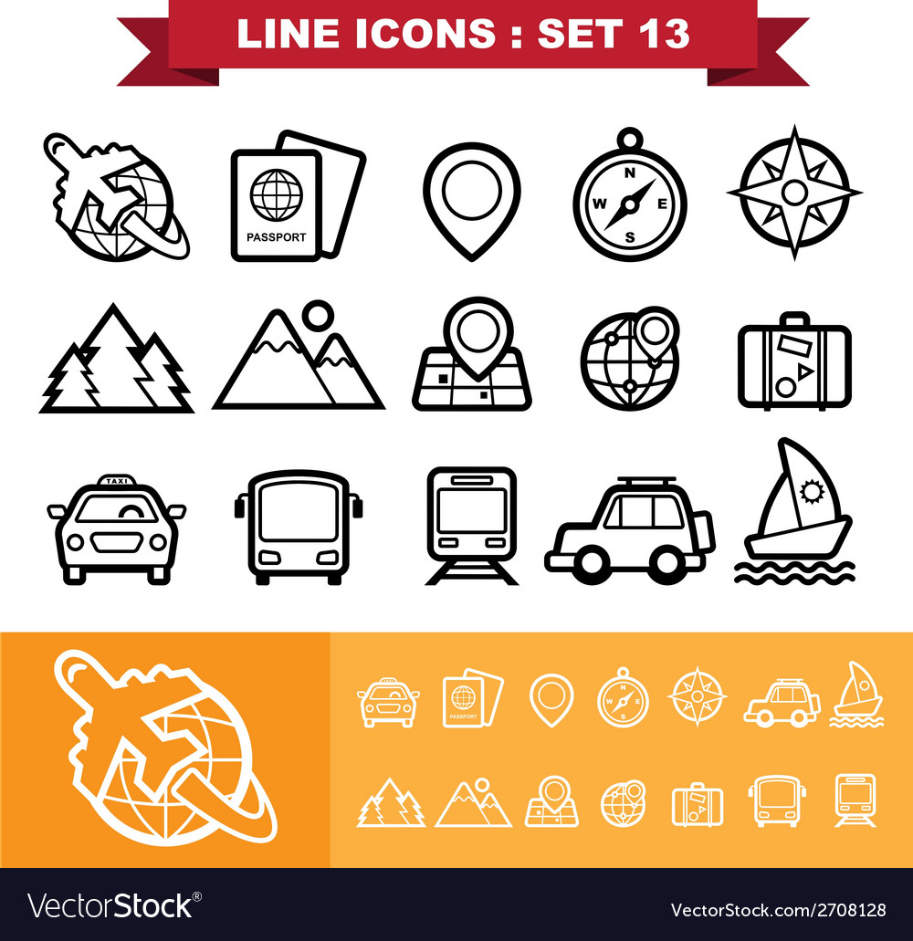 Line icons set 13 vector