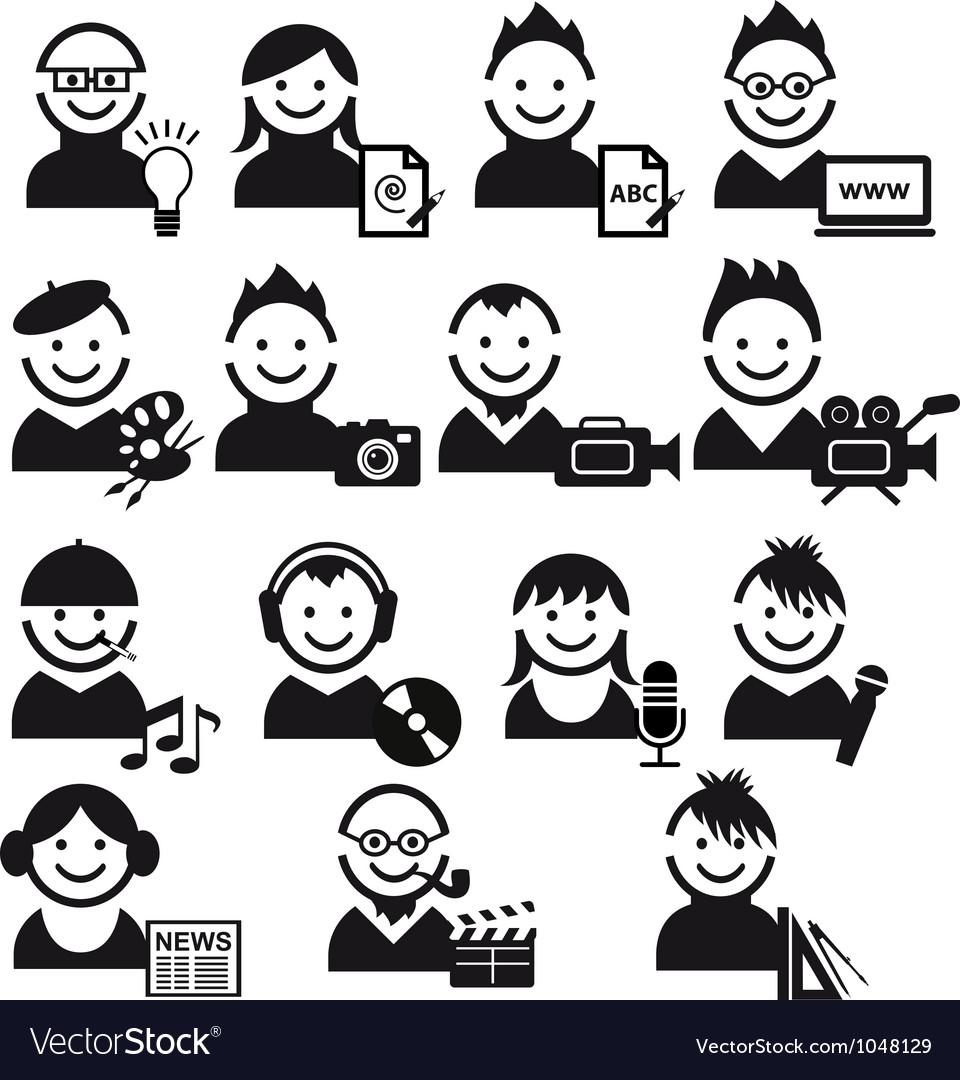 Creative people icon set vector