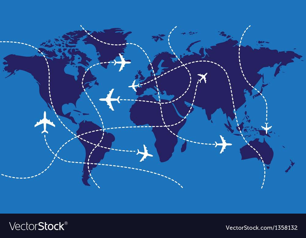World map airplane flights vector