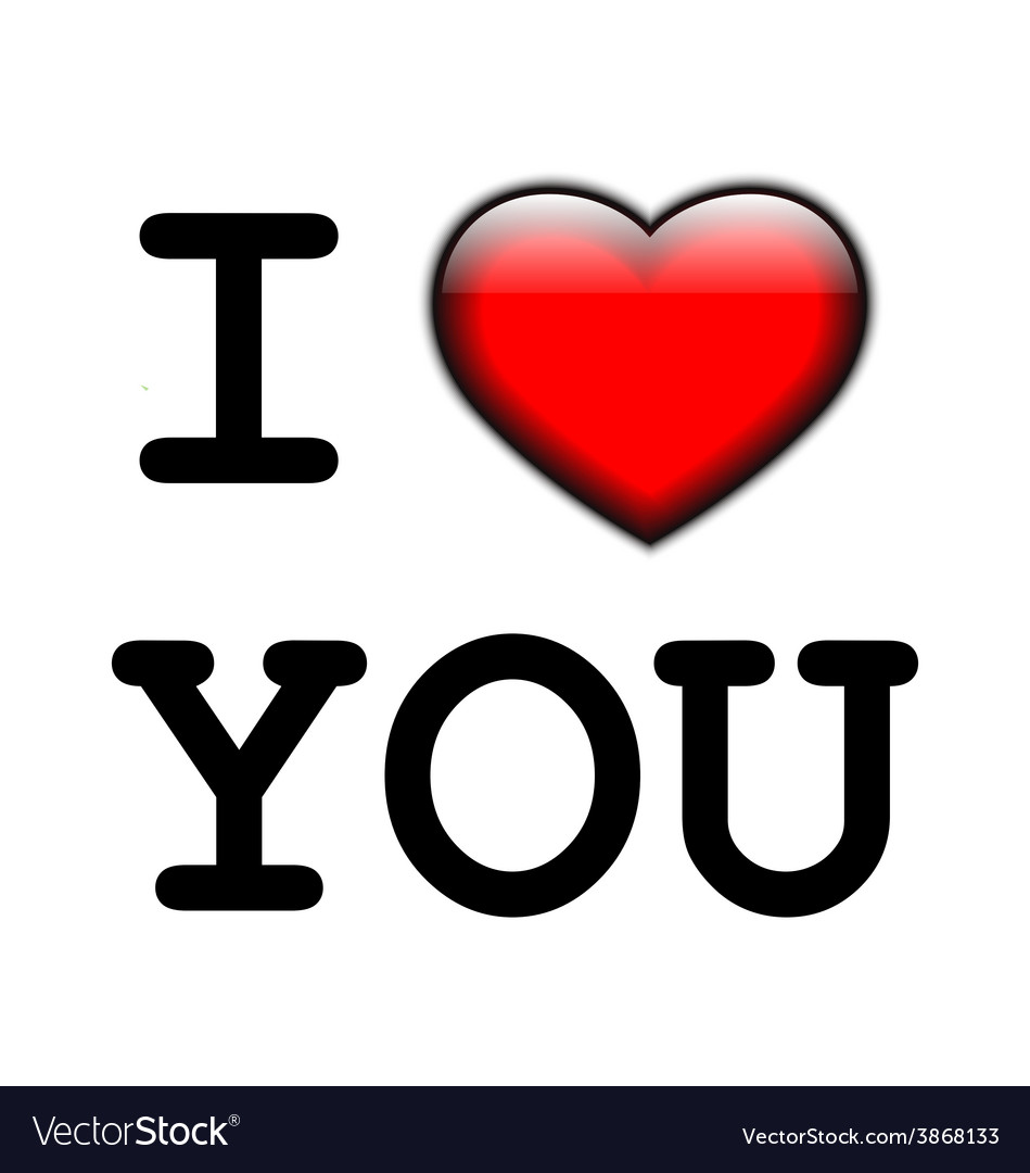 I love you message with a red heart vector
