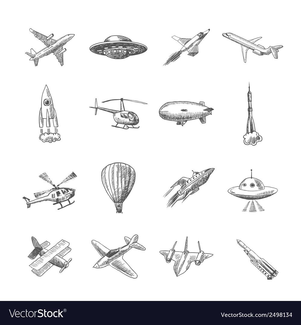 Aircraft icons sketch vector