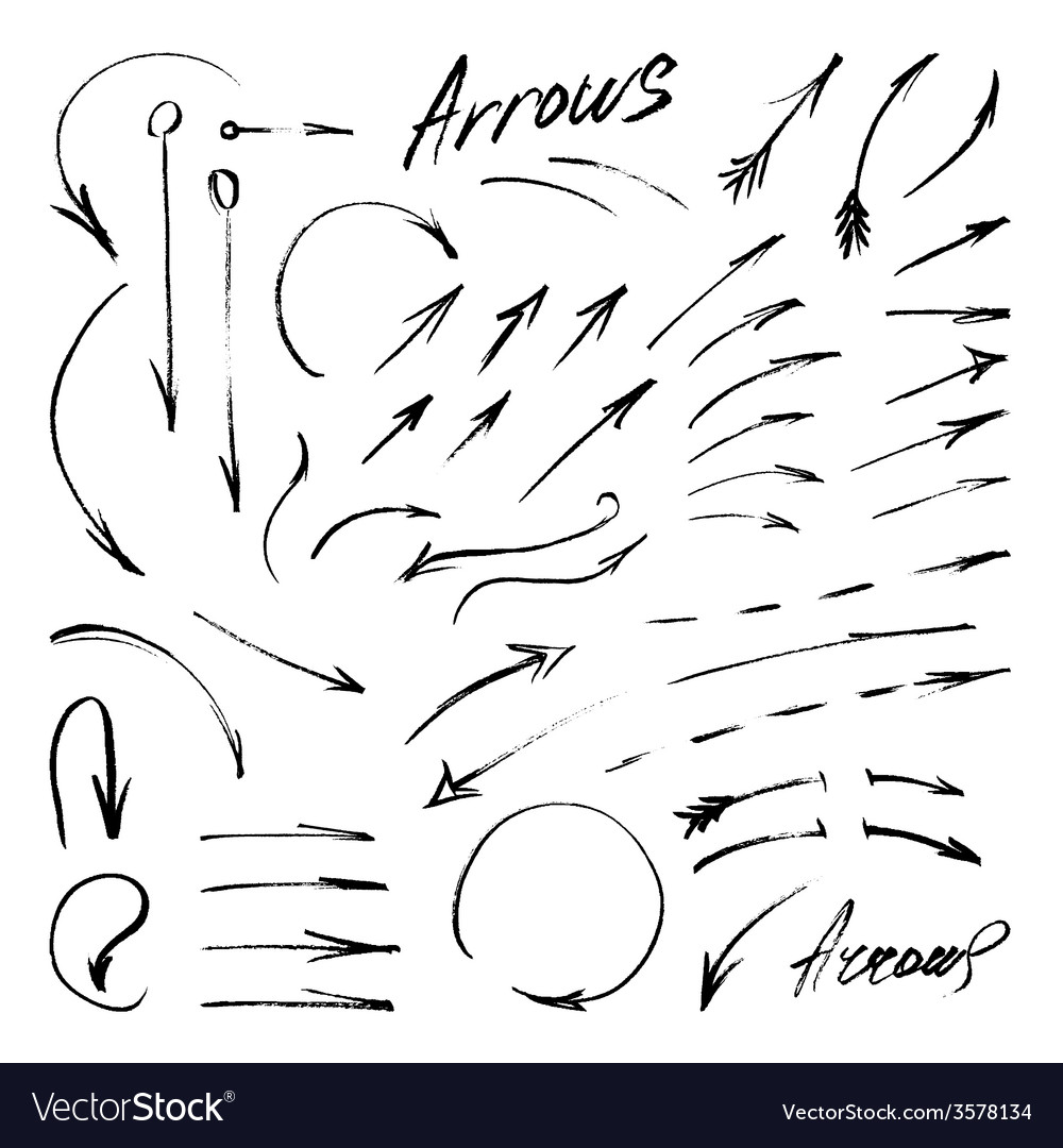 Hand-drawn isolated sketchy arrows set vector